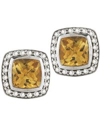 David Yurman Pre-owned 7mm Cushion Albion Pave Citrine and Diamond Earrigns - Lyst