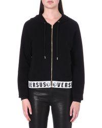 Versus  Hooded Jersey Zipthrough Jacket Black - Lyst