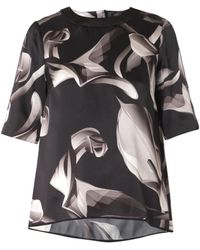 Giles Calla Lily-Print Silk Blouse gray - Lyst