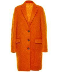 MSGM Orange Mohair Coat - Lyst