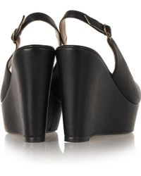 Penelope Chilvers Flow Leather Wedge Sandals - Black