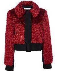Oscar de la Renta Belted Mohair Fur Jacket - Lyst