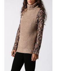 JOA Turtleneck Knit Top khaki - Lyst