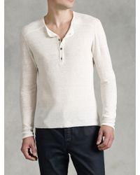 John Varvatos - Long Sleeve Henley Sweater - Lyst