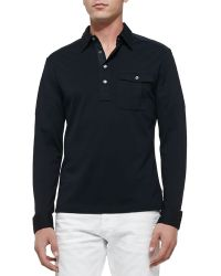 Ralph Lauren Black Label Long Sleeve Military Polo - Lyst