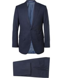 Thom Sweeney Navy Weighouse Wool Suit - Blue