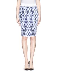 Alexander McQueen Floral Cloqué Jacquard Knit Pencil Skirt - Lyst