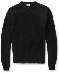 Saint Laurent Mohairblend Crew Neck Sweater - Lyst