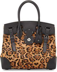 Ralph Lauren - Soft Ricky 33 Leopardprint Calf Hair Satchel Bag - Lyst