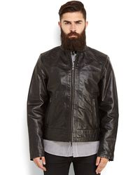Levi's Black Leather Moto Jacket - Lyst
