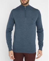 Lacoste | Mottled-blue Pr Zip-collar Sweater | Lyst