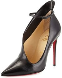 Christian Louboutin Vampydoly Red Sole Leather Half-Bootie - Black