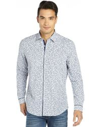 Stone Rose Navy Cotton Woven Gingham and Floral Button Front Shirt - Lyst