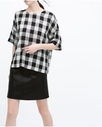 Zara Flared Faux Leather Skirt - Lyst