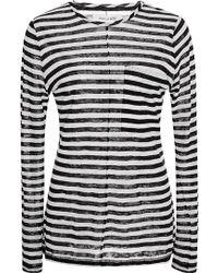 10 Crosby Derek Lam Striped Linen Pocket T-Shirt - Lyst