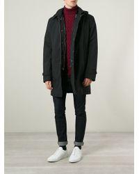 Herno Black Hooded Raincoat - Lyst