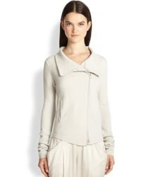 Donna Karan New York Stretch Cashmere Zipper Cardigan - Lyst