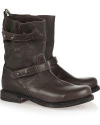 Rag & Bone Moto Textured-Leather Biker Boots - Lyst