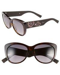 Dior 'Inedites' 56Mm Cat Eye Sunglasses - Havana Brown black - Lyst
