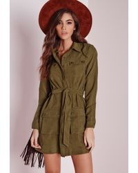 Missguided - Faux Suede Double Pocket Shirt Dress Khaki - Lyst