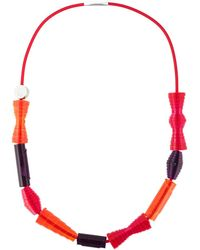 Pleats Please Issey Miyake Geometric Shape Necklace - Orange