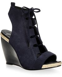 Pierre Hardy Suede Lace Up Wedges - Lyst