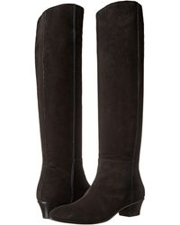 Costume National Tall Suede Boot black - Lyst