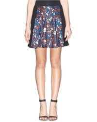 Thakoon Floral Print Twill Front Crepe Skirt - Lyst