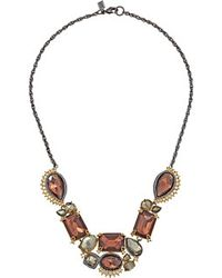 Alexis Bittar Crystal Studded Spur Trimmed Bib W/ Custom Pink Tourmaline & Crystal Pyrite Doublets Necklace - Lyst