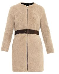 Adam Lippes Shearling and Leather-belt Coat - Lyst