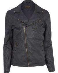 River Island Dark Grey Leather-look Quilted Biker Jacket - Lyst