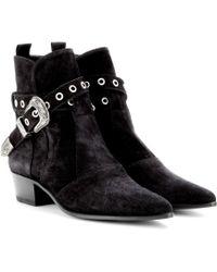 Saint Laurent Duckies Suede Ankle Boots - Lyst