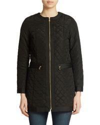 Jones New York Petite Quilted Zip Front Jacket black - Lyst