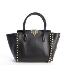 Valentino Black Leather Rockstud Studded Detail Small Convertible Tote - Lyst
