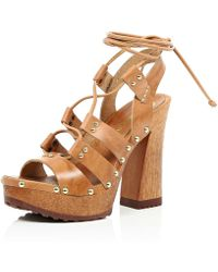 River Island Light Brown Leather Lace Up Wooden Platforms brown - Lyst
