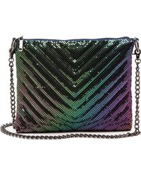 Whiting & Davis Quilted Chevron Cross Body Bag  Peacock - Lyst