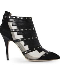 Monique Lhuillier - Black Suede & Nappa Studded Booties - Lyst