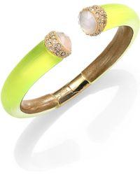Alexis Bittar Vert D'Eau Lucite, White Quartz, Mother-Of-Pearl & Crystal Cuff Bracelet - Lyst