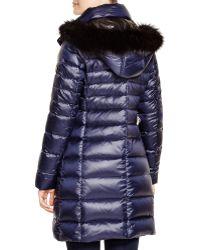 Andrew Marc Gayle Genuine Fox Fur Trim Down Parka - Blue