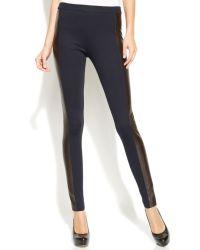 Michael Kors Michael Petite Skinny Faux-leather-panel Pants - Lyst