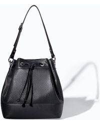 Zara Leather Bucket Bag with Cut Work Detail - Lyst