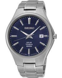 Seiko Men'S Solar Silver-Tone Titanium Bracelet Watch 40Mm Sne381 - Lyst