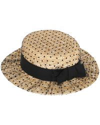 Kreisi Couture - Polka Dot Tulle Covered Straw Hat - Lyst