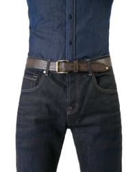 7 For All Mankind - Perforated Belt Dark Grey - Lyst