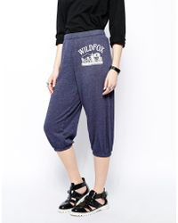 Wildfox Cropped Sweat Pants with Front Logo - Lyst