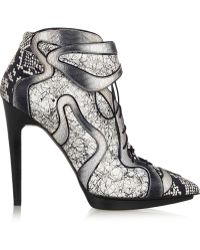 Pierre Hardy Dégradé Elaphe and Printed Leather Ankle Boots - Lyst