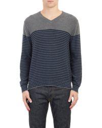 Barneys New York Stripe V-Neck Sweater blue - Lyst