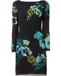 Matthew Williamson Tropical Sequin Embroidered Black Dress - Lyst