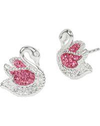 Betsey Johnson Ballerina Rose Swan Stud Earrings - Pink