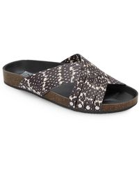 DV by Dolce Vita Gavin Snake-Print Faux Leather Slides pink - Lyst